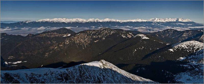 Низкие Татры Хопок панорама горные лыжи